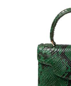MARYAS Green & Black Python Back Leather Handbag Size 21