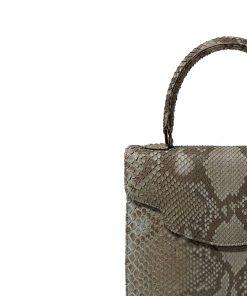 MARYAS Grey & Black Python Back Leather Handbag Size 25