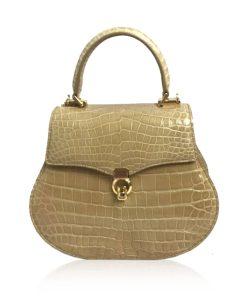 VIRANDA Baby Shiny Beige Crocodile Belly Leather Handbag Size 21