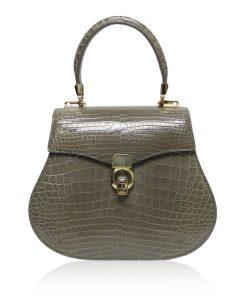 VIRANDA Baby Shiny Grey Crocodile Belly Leather Handbag Size 21