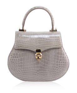 VIRANDA Baby Shiny Light Grey Crocodile Belly Leather Handbag Size 21