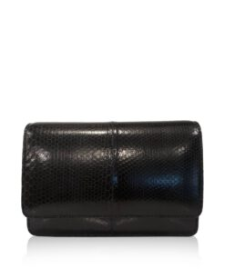 WINNIE Black Sea Snake Leather Clutch Bag Size 21