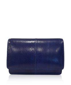 WINNIE Royal Blue Sea Snake Leather Clutch Bag Size 21