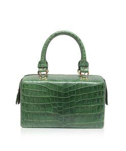 FIGARO Crocodile Belly Leather Handbag Matte Green Size 25