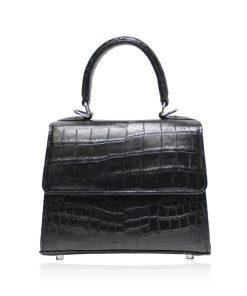 GOLDMAS Crocodile Belly Leather Handbag Matte Black size 18