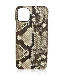 iPhone 12 Python Back Leather Case With Handle Shiny Natural